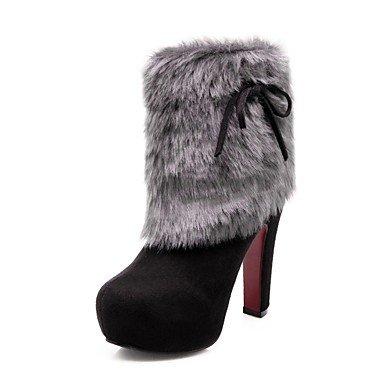 Rtry Femmes Chaussures Nubuck Cuir Hiver Mode Bottes Bottes Chunky Talon Bout Rond Bottines / Cheville Bottes Pour Usure Occasionnelle Vin Noir Bleu Us9 / Eu40 / Uk7 / Cn41