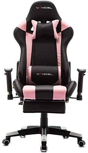 EAVANCEL Gaming Racing Stuhl Computer Schreibtischstuhl Ergonomisches Design mit Breiten Rückenkissen, ausziehbahre Fußlehne und Massagegerät in Taillenbereich einfach mit den PC verknüpfen. (Rosa)