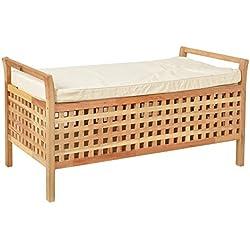 ts-ideen - Banco con estante para zapatos, cesta de ropa, madera nogal