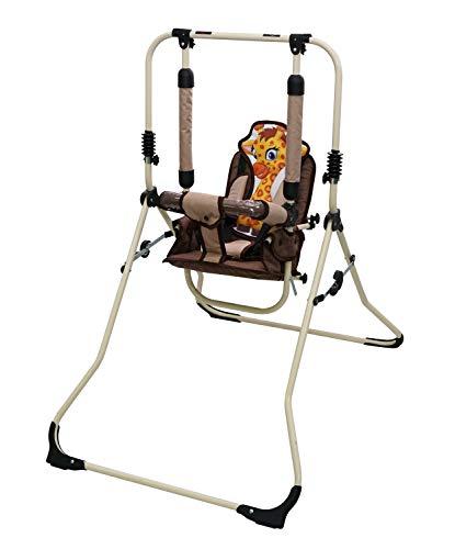 Clamaro 2 in 1 Babyschaukel \'SWING\' Indoor Baby Schaukel und Hochstuhl in einem, Sicherheitsgurt mit Bügel, gepolsterter Sitz, kompakt zusammenklappbar - Motiv: Giraffe