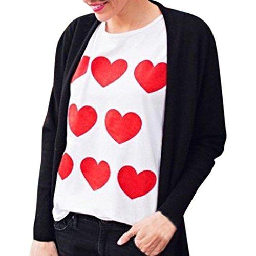 ❤️Manadlian Chemisier Blouse Femme Ete 2018,Femme Sweatshirt Saint-Valentin Chemise à Manches Longues Love blanc 1