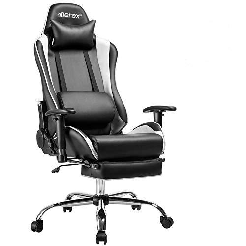 Merax Racing Stuhl Gaming Stuhl Chefsessel Ergonomisch Design Bürostuhl PU-Leder Drehstuhl Höhenverstellbarer Schreibtischstuhl mit Verstellbaren Armlehnen und Wippfunktion (Schwarz-Weiß)