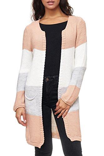 Arizonashopping - jacken maglia da donna lunga in maglia a righe d2159, farben:rosa antico, größe damen:one-size
