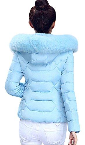 Brinny Damen Mantel Lange Winterjacke Steppjacke Kunstpelz Kapuzen Parka Lang Wintermantel Übergansjacke Mantel Jacke Fellkapuze Warmen Outerwear Fleecejacket 32 Blau