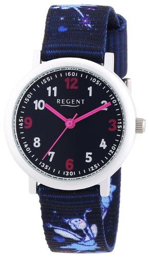 Regent - Reloj analógico unisex de tela negro