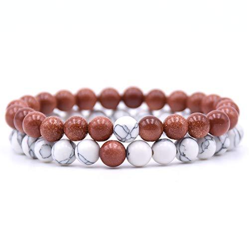 Armband Armreif,Schmuck Geschenk, 2Pcs/Set Couples Distance Bracelet Classic Natural Stone 18 Styles Beaded Bracelets for Men Women Best Friend 6