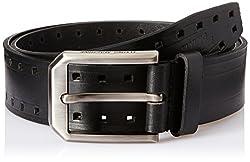 Flying Machine Mens Leather Belt (8907378881977_FMAL0453_Black_S)