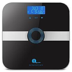1Byone Body Fat Scale Waage Personenwaage mit gehärtetem Glas, 180kg/400LB Gewicht Kapazität, 10Benutzer Automatische Erkennung, misst Gewicht, Körperfett, Wasser, Muskelmasse, Kalorienverbrauch und BMI