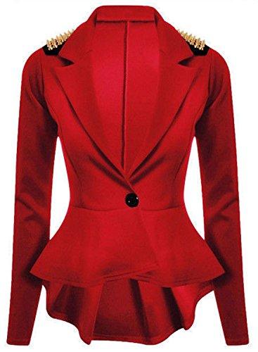 GirlzWalk  Damen Damen Nieten Knopfleiste mit Spike Shoulder Blazer Mantel Jacke Top (Rot, XXXL 52-54)