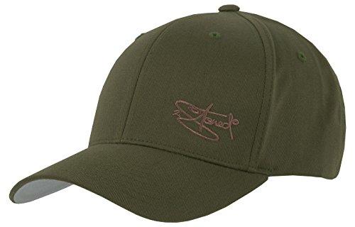 2-tone Baseball Cap (2Stoned Flexfit Cap Wooly Combed Olive mit Stick Ton-in-Ton, Größe S/M (56 cm - 58 cm), Basecap für Damen und Herren)