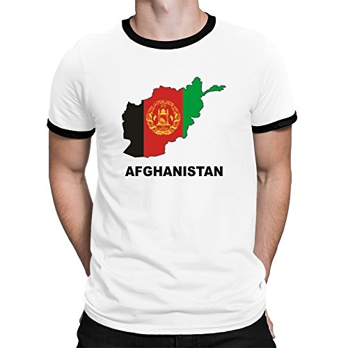 Teeburon Afghanistan Country Map Color Ringer T-Shirt (Weißes Afghanistan T-shirt)