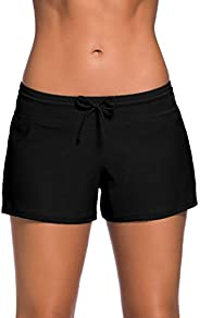DONA Swim Shorts for Women,Women's Sport Board Shorts Swimsuit Bottom Womens Swim Sh
