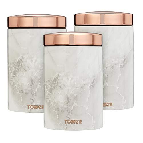 Tower Set mit 3 Dosen, Edelstahl, Weiß Marmor, Roségold, Einheitsgröße