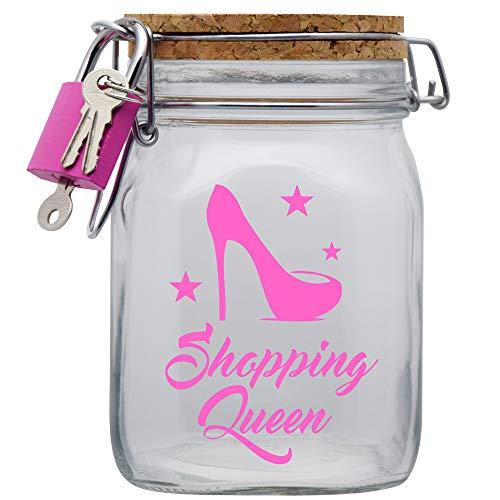 Shopping Queen XXL-Spardose die Geld Geschenk-Idee für die Frau oder Mädchen mit Korkdeckel und Sparschlitz Glas