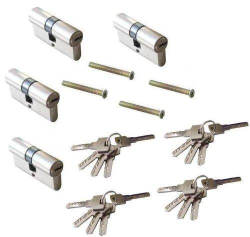 4 Stück Gleichschliessende 60mm Zylinderschloss Türschloss Schloss Einbauschloss Sicherheit mit 20 Schlüssel