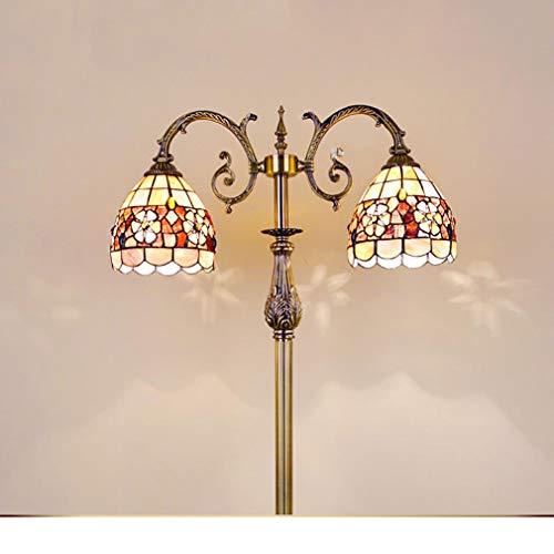 Tiffany Stehlampe Kupfer (Tiffany-Stehlampe Camellia European Mediterranean Muschelbodenlampe Schlafzimmer Wohnzimmer einfache Stehlampe)