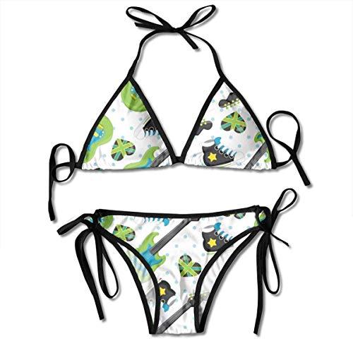 70b8b6dfb424 hdghg shop Traje de baño de Las Mujeres Cartoon Rock Music Women's Bikini  Set Swimsuit Bathing Suit Halterneck Triangle Swimwear Two-Piece Suits