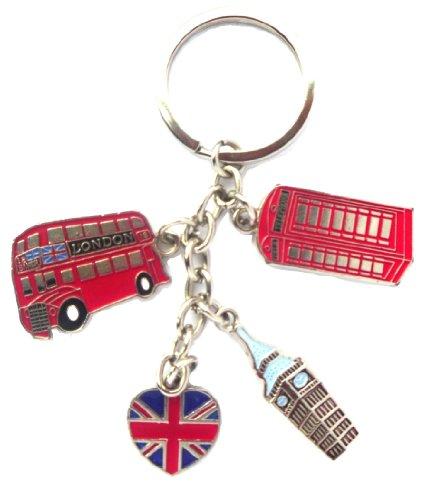 Preisvergleich Produktbild Ich liebe London: Bommel London Bus, Telefon, Big Ben & Union Jack Keyring - ich liebe London Keychain - London-Souvenir-Schlüsselanhänger & London Souvenir 3D London Souvenir Bookmark
