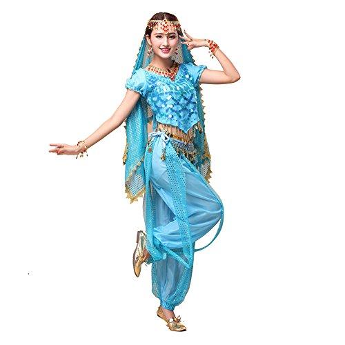 Bauchtanz Tribal Tanz Outfits Tanzkleidung Bauchtanz Kostüm Set Indischer Tanz Top & Paillette Bauchtanz Hose (Hüfttuch Münzen Kostüme Tanz)