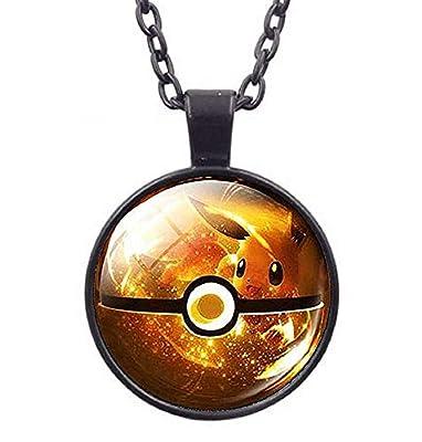 Lovelegis - Collar - Pokémon Go - Bola Poke - Pokeball - Pikachu - Niños - Niños - Mujeres - Hombre - Unisex - Idea Regalo - Cadena Negra - (Amarillo) por Special4you export.Co. , Ltd