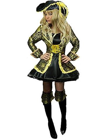 Yummy Bee - Pirate des Caraibes Capitaine Costume Luxe Déguisement Femme + Sabre D'Abordage Chapeau Mousquetaire Grande Taille 34 - 46