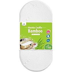 Babysom - Matelas de Couffin Bamboo - 72x32cm - Landau | Nacelle | Berceau - Epaisseur 4cm - Forme Ovale - Déhoussable - Fabrication Francaise