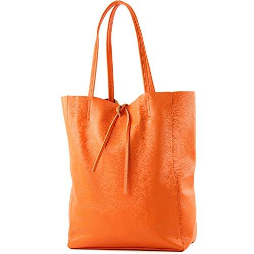 modamoda de - T163 - Ital. Shopper Schultertasche aus Leder, Farbe:Orange -