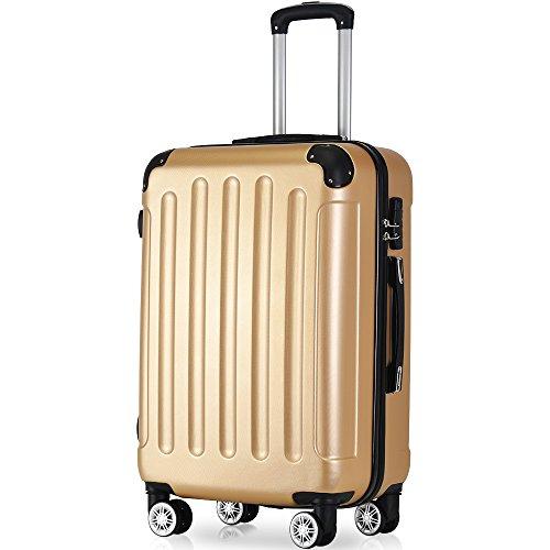 Flieks® ReiseKoffer Hartschale Trolley Koffer Gepäck-Sets mit 4 Doppel-Rollen, Set-XL-L-M (Champagner, XL(Großer Koffer)) (Fahrwerk Großes)