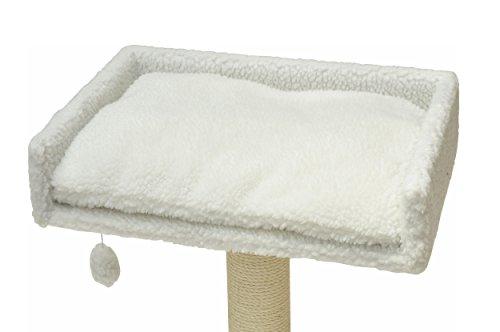 nanook Liegeplatz Top für Katzen-Kratzbaum mit Kissen groß XXL 60x40 cm - weiß Teddyfell