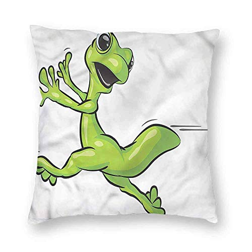 Dress rei Animal Square Form Decorative Pillow Cute Running Gecko Humor Sofa or Bed Set 18x18 Inch -