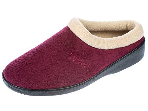 Women's Coolers Navy / Burgundy / Beige Mule Clog Slippers Sizes 4-8 (6 UK, Burgundy)
