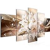 Bilder Blumen Lilien Wandbild Vlies - Leinwand Bild XXL Format Wandbilder Wohnzimmer Wohnung Deko Kunstdrucke Braun 5 Teilig - MADE IN GERMANY - Fertig zum Aufhängen 020153a