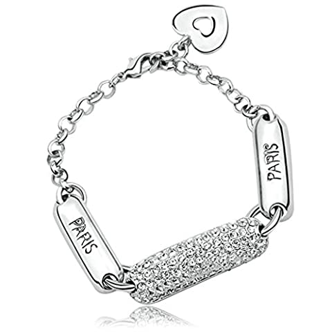 AMDXD Jewelry Gold Plated Women Charm Bangle Bracelet Heart White CZ