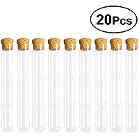 UKCOCO Tubos de prueba claros de cristal 20PCS con los tapones de corcho y el cepillo para los experimentos científicos Almacenamiento líquido del polvo 20 x 200m m