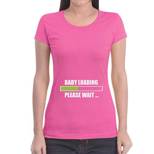 Baby Loading Please Wait Frauen Rosa Medium T-Shirt Slim Fit - Lustiges Schwangerschaftsshirt / Witzige Umstandsmode (Rosa Babyshower Kleid)