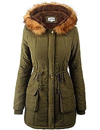 iLoveSIA® Manteau femme parka hiver fourrure avec capuche Militaire