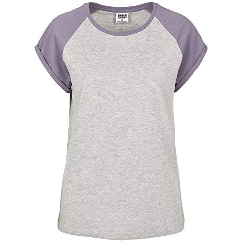 Urban Classics Damen Ladies Contrast Raglan Tee T-Shirt, Mehrfarbig (Grey/Dustypurple 02250), XXXXX-Large (Herstellergröße: 5XL) - Frauen Raglan Tee