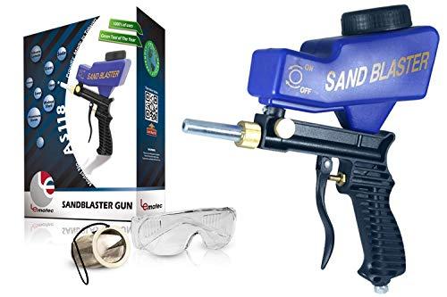 Lematec Tragbare Sand Blaster, Medien Strahlen Düse Gun, Gravity Feed Sandstrahl Pistole, Handwerk, DIY, Glas & Spiegel Radierung Tool mit Extra Tipp (blau).