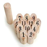 Ocean5 - Nummern Kubb - das Zahlen Wurfspiel für draußen - Holz-Kegel Wikinger Spiel aus Skandinavien - das Geschicklichkeitsspiel für den Sommer
