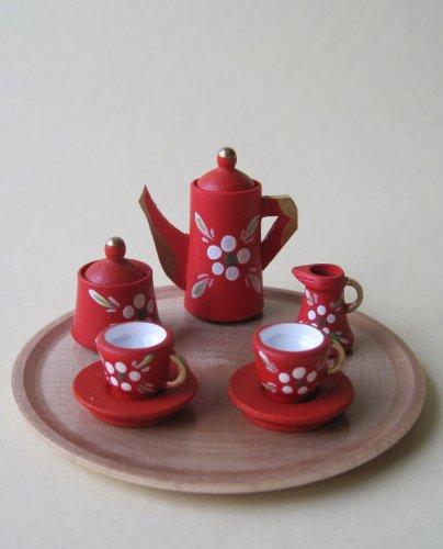 Kaffeeservice rot mit Blumen und Tablett rund Puppenhaus Miniatur - Erzgebirge Volkskunst