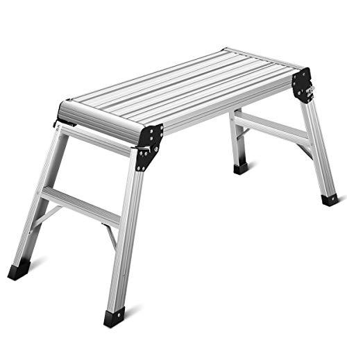 Giantex Plataforma Trabajo Aluminio Escalera Plegable