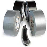 Hinrichs 4 rollos de cinta americana 50m, cinta adhesiva, negro/plata - para interiores y exteriores - 50 m x 50 mm - cúter gratis