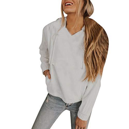 Baiomawzh Kapuzenpullover Sweatshirt Damen Frühling Herbst Langarm V-Ausschnitt Einfarbig Gefütterte Lässige Pocket Mit Kordelzug Regular Fit Hooded Pullover Sweater Streetwear (2XL, Weiß) (Team Kordelzug)