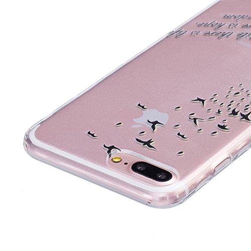 iPhone 6/6s Plus 5.5 Inch Cas Case,iPhone 6/6s Plus couverture,24/7 boutique Noir Lace Lotus Concevez Scratch Anti-TPU Protection Goutte Siliciume pare-chocs Retour couverture de housse Ultra Slim min Black Birds Feather