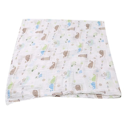 Albeey Baby Musselin Swaddle Decke Puckdecken (Wal)