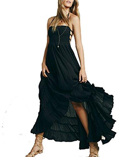 HorBous Robe Longue de Plage BoheMe Style Robe Chic FeMMe Robe à Bretelle Plissee sans Manches Epaules Denudees Robe Longue Sexy Robe Ete ,Noir,XL