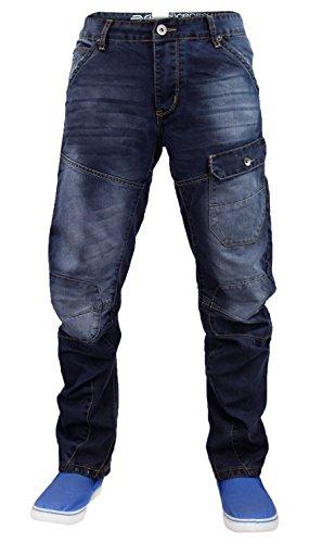 Mens Designer Crosshatch Curved Banana Leg Denim Engineered Cargo Jeans Vierra - Dark Wash