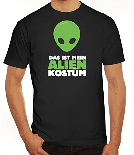 Fasching Karneval Herren T-Shirt mit Das ist mein Alien Kostüm 2 Motiv von ShirtStreet, Größe: XXL,schwarz
