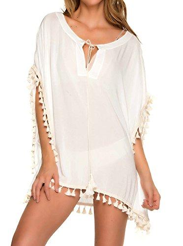 PINKMILLY Damen Strandkleid Bikini Cover Up Quasten Strandponcho Sommer Bademode Freie Größe Weiß