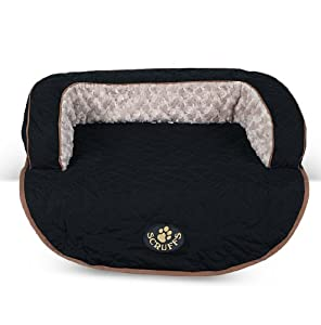 Luxury Scruffs Wilton Medium Black Quilted Fur Lined Pet Dog Sofa Bed